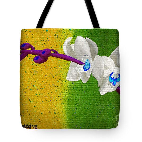 Tote Bag featuring the painting White Orchids On Yellow And Green by Laura Forde