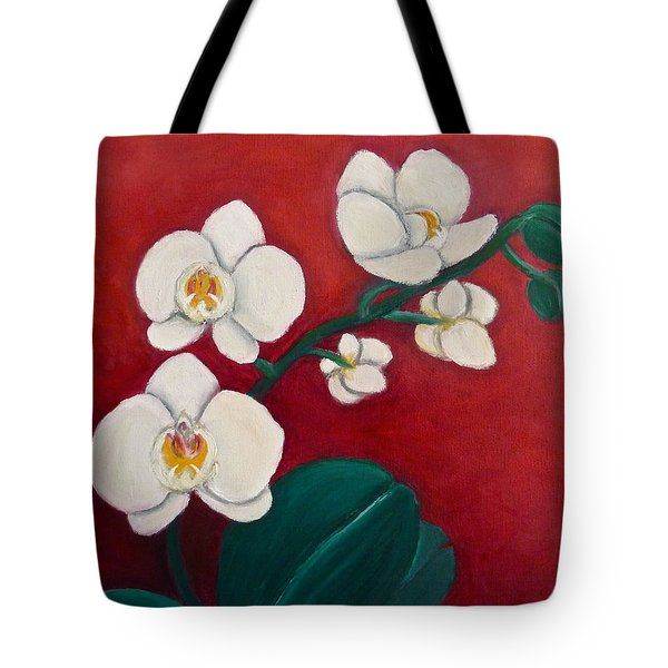 White Orchids Tote Bag by Victoria Lakes