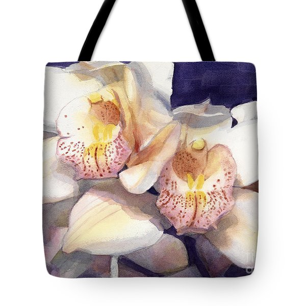 White Orchids Watercolor Tote Bag