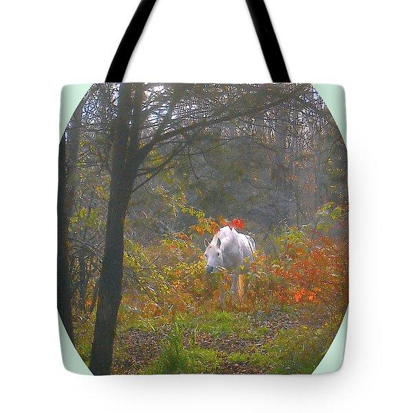 White Paso Fino Stallion Enjoys The Autumn Day Tote Bag