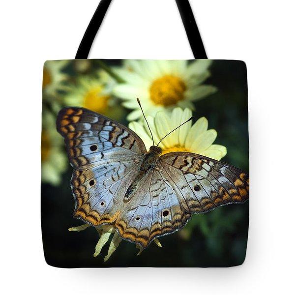 White Peacock Butterfly On A Daisy Tote Bag by Saija  Lehtonen