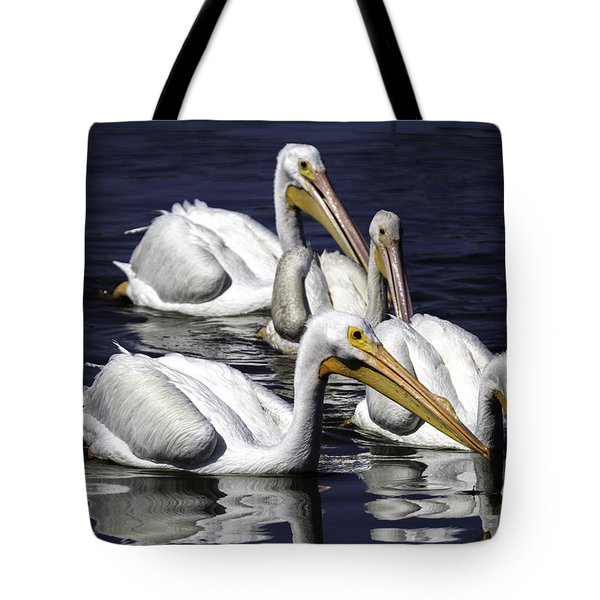 White Pelicans Fishing Tote Bag