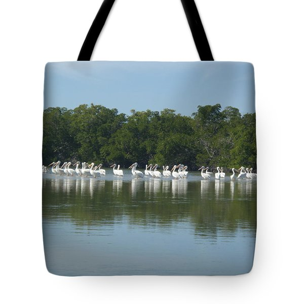 Tote Bag featuring the photograph White Pelicans by Robert Nickologianis