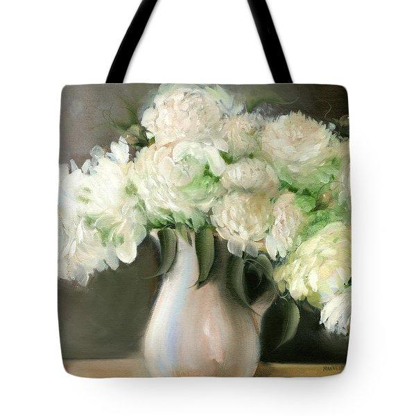 White Peonies Tote Bag