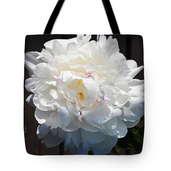 White Peony Tote Bag by Tine Nordbred