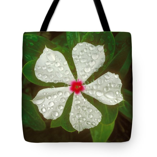 Tote Bag featuring the photograph White Periwinkle by Mark Greenberg