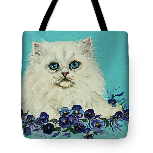 Tote Bag featuring the painting White Persian In Pansy Patch Original Forsale by Bob and Nadine Johnston