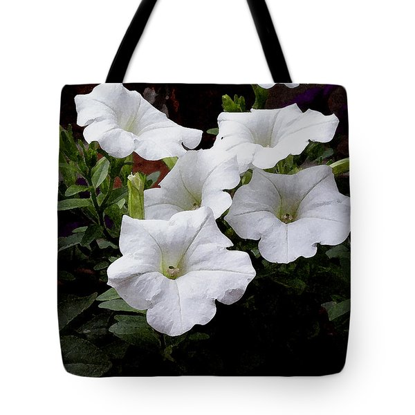 Tote Bag featuring the photograph White Petunia Blooms by James C Thomas