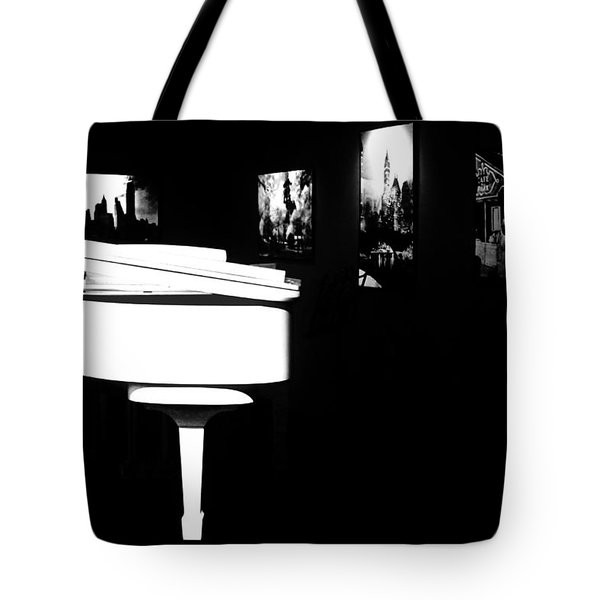 White Piano Tote Bag by Benjamin Yeager