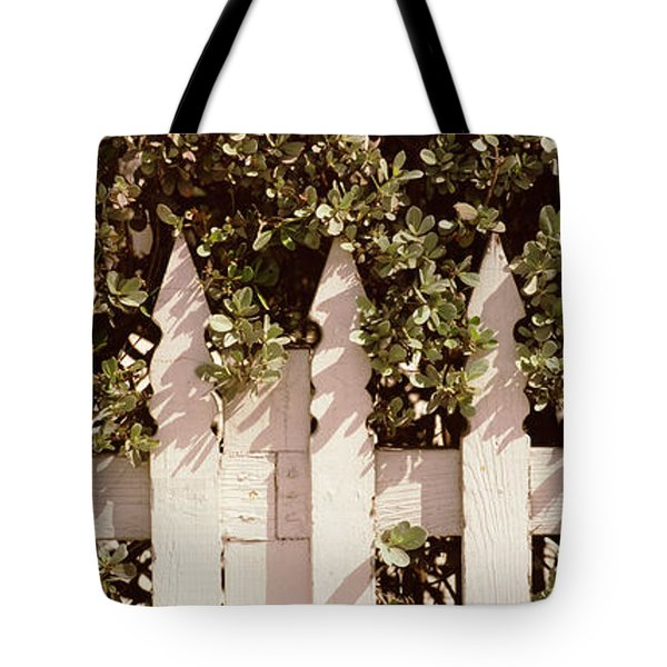 White Picket Fence Surrounded By Bushes Tote Bag