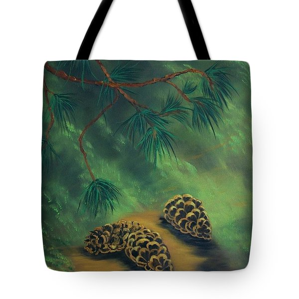 White Pine  And Cones Tote Bag
