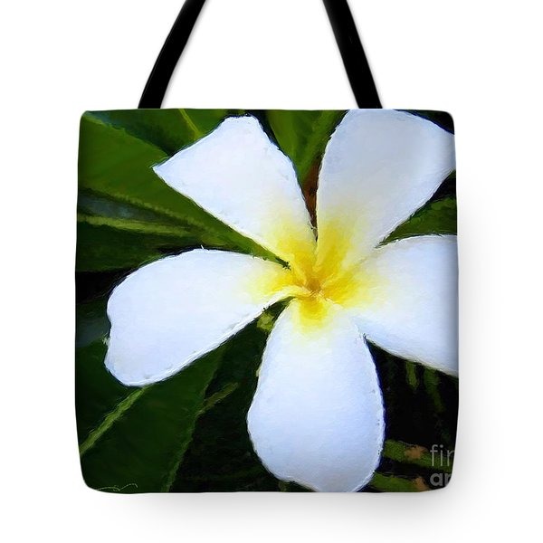 Tote Bag featuring the mixed media White Plumeria by Anthony Fishburne