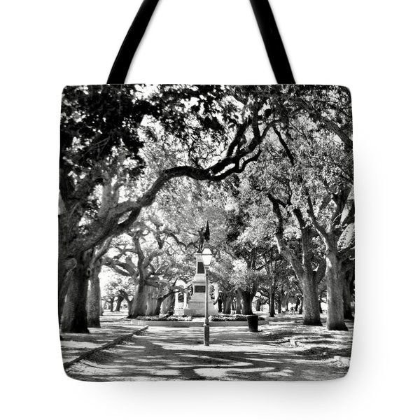 Tote Bag featuring the photograph White Point Gardens At Battery Park Charleston Sc Black And White by Lisa Wooten
