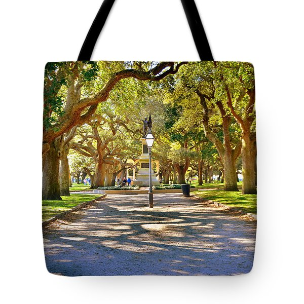 Tote Bag featuring the photograph White Point Gardens At Battery Park Charleston Sc Hdr by Lisa Wooten
