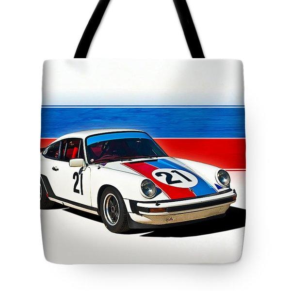 White Porsche 911 Tote Bag