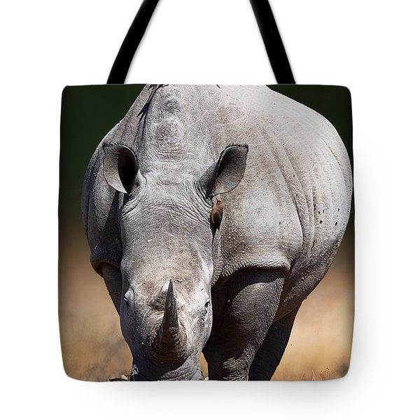 White Rhinoceros  Front View Tote Bag
