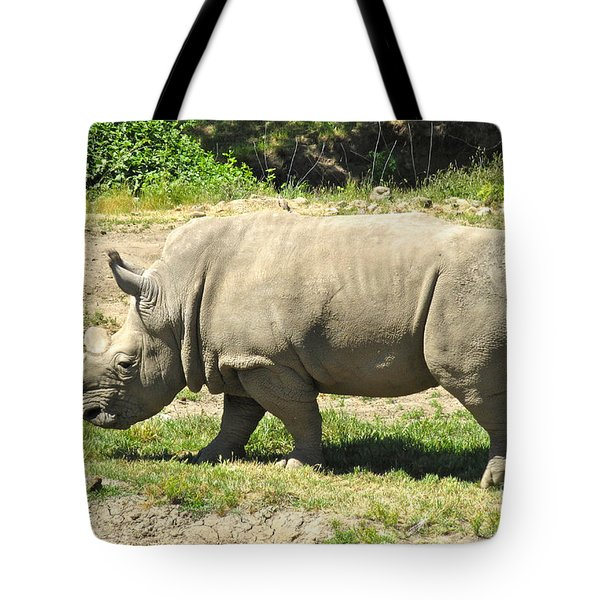 White Rhinoceros Grazing Tote Bag