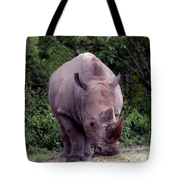 White Rhinoceros Water Coloring Tote Bag