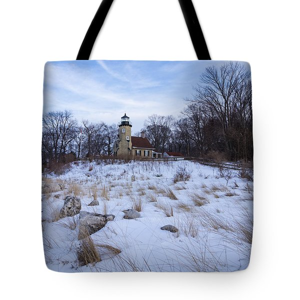 White River Lighthouse In Winter Tote Bag