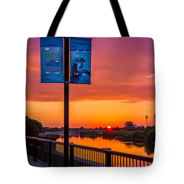 White River Sunset Tote Bag