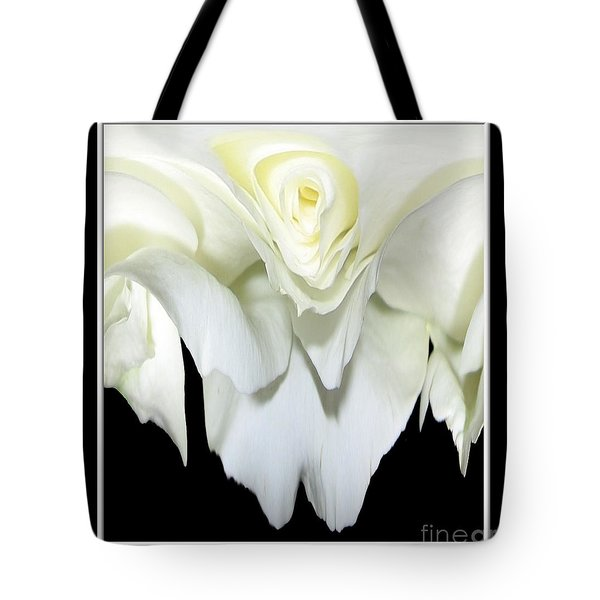 White Rose Abstract Tote Bag by Rose Santuci-Sofranko