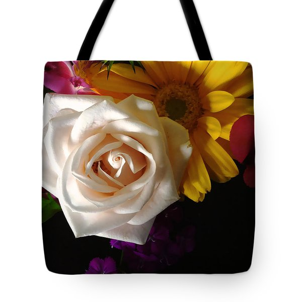 Tote Bag featuring the photograph White Rose by Meghan at FireBonnet Art