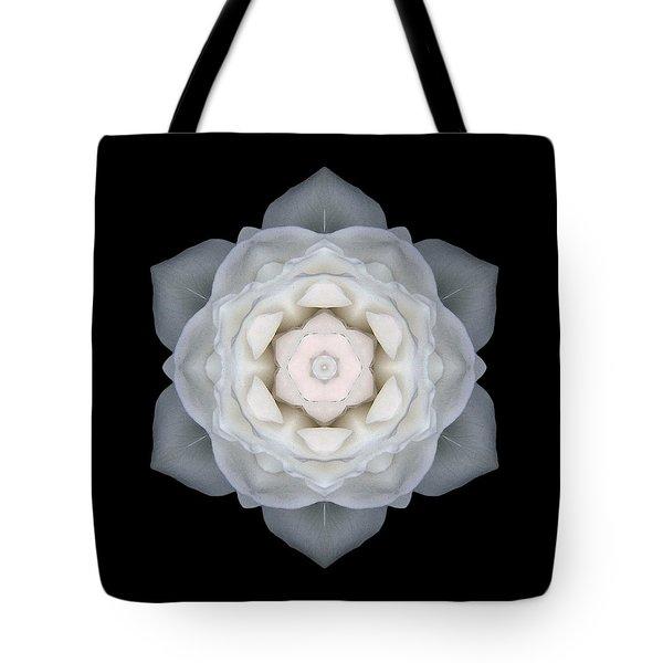 White Rose I Flower Mandala Tote Bag