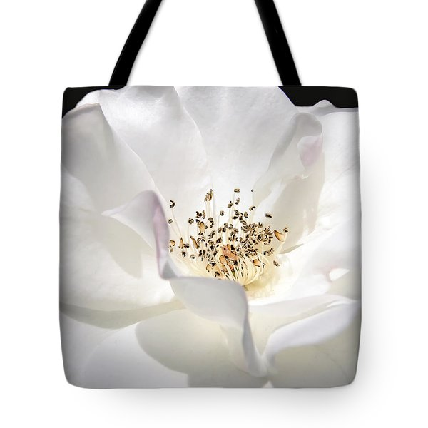 White Rose Petals Tote Bag by Jennie Marie Schell