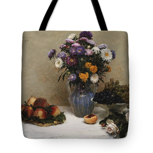 White Roses And Chrysanthemums Tote Bag by Ignace Henri Jean Fantin-Latour