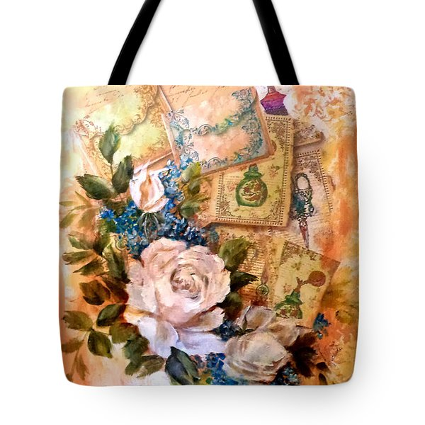 White Roses And Forget Me Nots On Decoupaged Background Tote Bag
