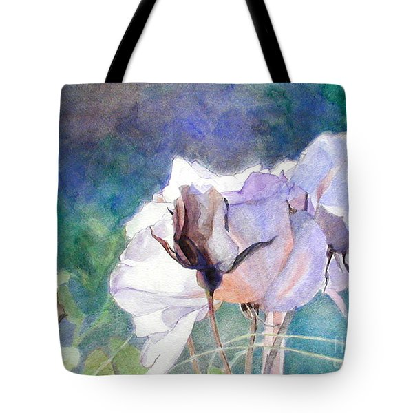 Tote Bag featuring the painting White Roses In The Shade by Greta Corens