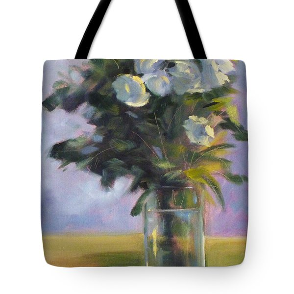 White Roses Tote Bag by Nancy Merkle
