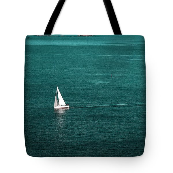 White Sailboat Tote Bag