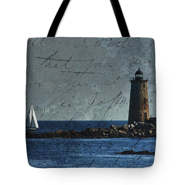White Sails On Blue  Tote Bag by Jeff Folger