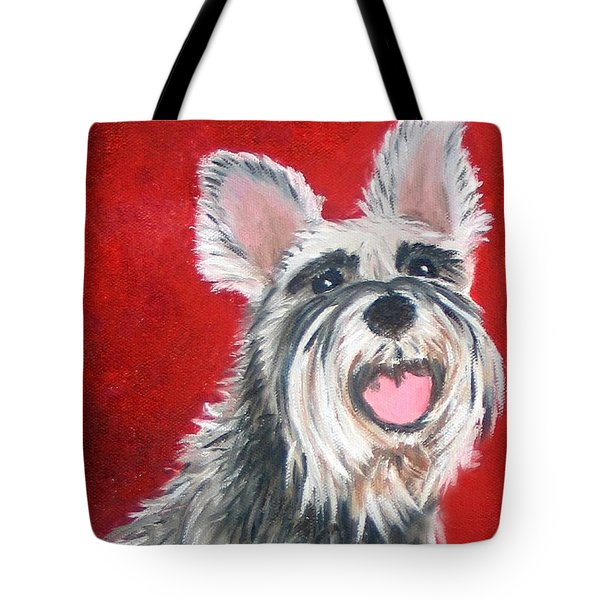 White Schnauzer Pet Portrait Print Tote Bag