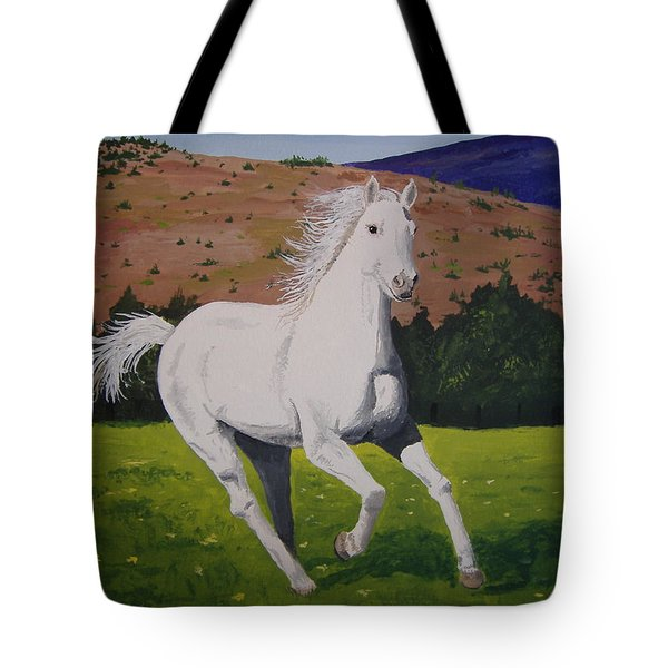 Tote Bag featuring the painting White Stallion by Norm Starks