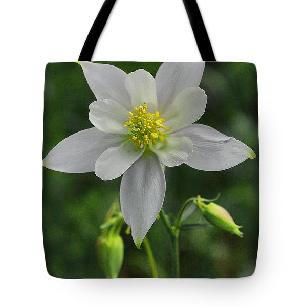 Tote Bag featuring the digital art White Star Flower by Mae Wertz