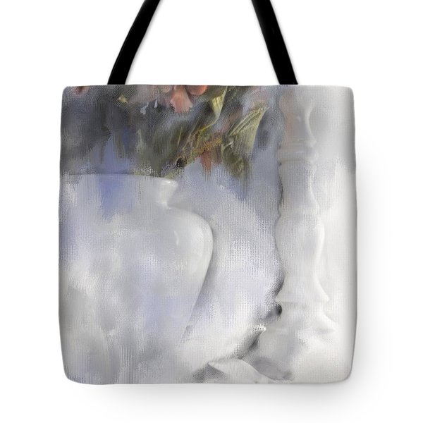 White Still Life Vase And Candlestick Tote Bag