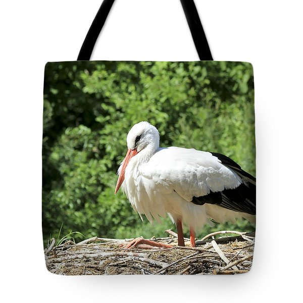White Stork  Tote Bag by Teresa Zieba