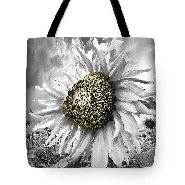 White Sunflower Tote Bag by Debra and Dave Vanderlaan