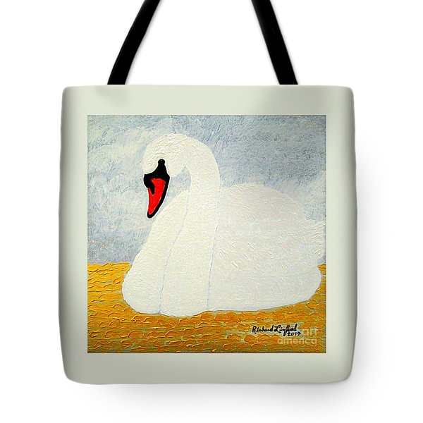 Tote Bag featuring the painting White Swan Lake by Richard W Linford