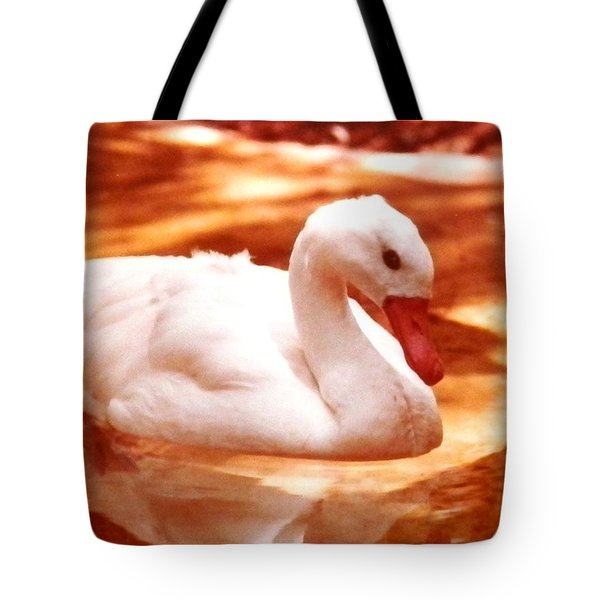 Tote Bag featuring the photograph White Water Swan Beauty by Belinda Lee