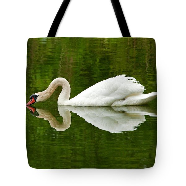 Tote Bag featuring the photograph Graceful White Swan Heart  by Jerry Cowart