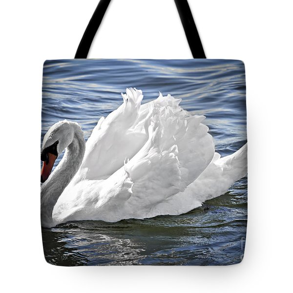 White Swan On Water Tote Bag
