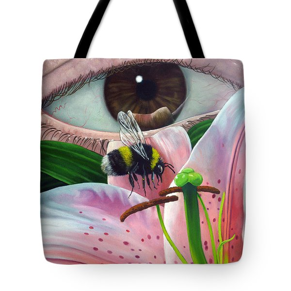 White Tailed Bumble Bee Upon Lily Flower Tote Bag