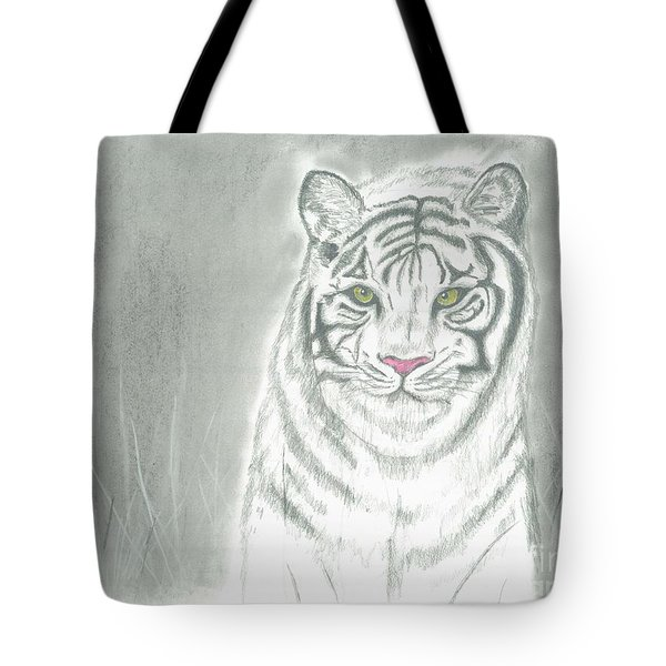 White Tiger Tote Bag by David Jackson