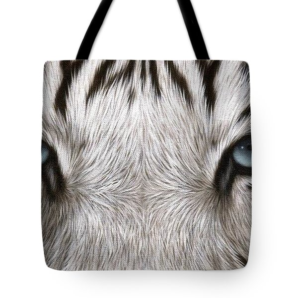 White Tiger Eyes Painting Tote Bag