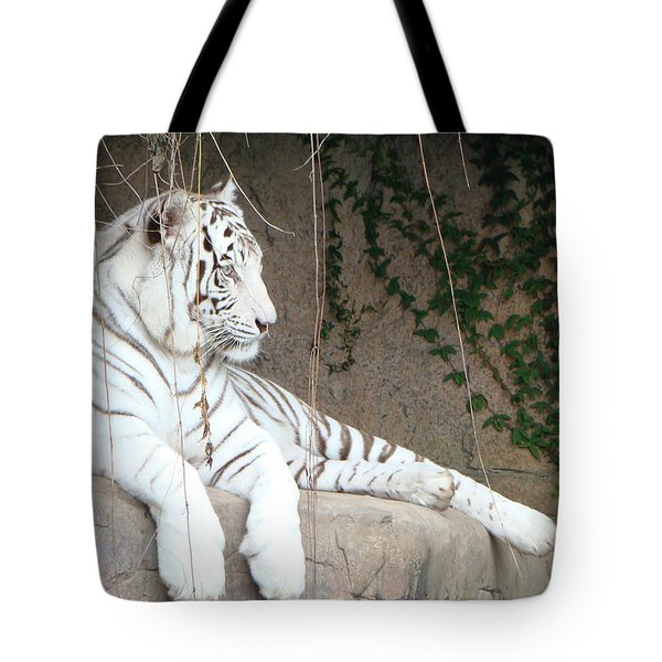 Tote Bag featuring the photograph White Tiger Resting by Phyllis Beiser