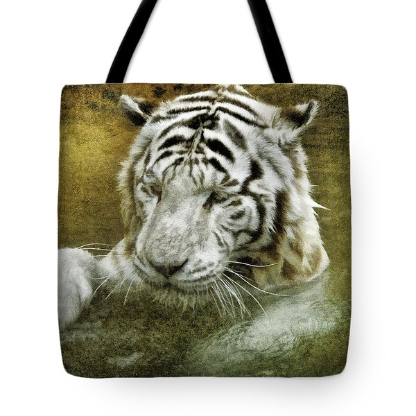 Tote Bag featuring the photograph White Tiger's Bathtime by Brian Tarr