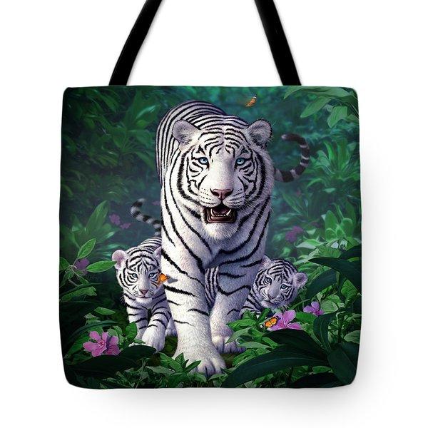 White Tigers Tote Bag